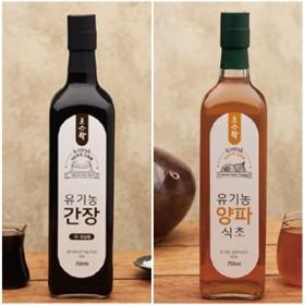 고스락 유기농 양파식초 750ml + 간장 750ml